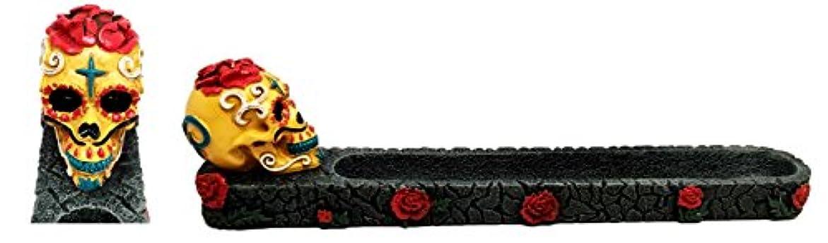 遡る全体に悪名高いDias De Los Muertos Day of the DeadレッドイエロースカルIncense Burner Sculpture