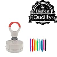 Highest Quality Y T Round Badge Style Pre-Inked Stamp, Purple Ink Included