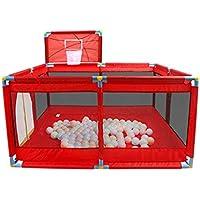 保護フェンスホーム子供の遊びフェンス赤ちゃんの幼児のフェンスのおもちゃの遊び場赤ちゃんのボールプールの100のボールの家具Playpen (Color : Red, Size : 128 * 128 * 66cm)