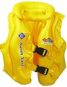 子供用 水泳 ベスト ライフジャケット (イエロー, M(4~10歳、適用バスト75cm))