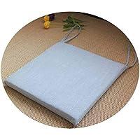 リネンオフィスの畳のクッションマット夏の通気性のシンプルな家庭食卓のクッション,スクエア[取り外し]ライトブルー,直径30*30*厚4cm