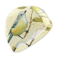 花と蝶と鳥の風景画 (2) スイムキャップ キッズ 3D プリント子供 用 水泳 キャップ 水泳帽 男児 女児 UVカットスイミング帽子 プール帽子