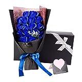 ソープフラワー AlfaView 花束 ギフト バラ ユリ 枯れない花 お祝い 結婚祝い プロポーズ プレゼント 結婚記念日 バレンタインデー 誕生日祝い 母の日 敬老の日 カード付き(18本) (青)