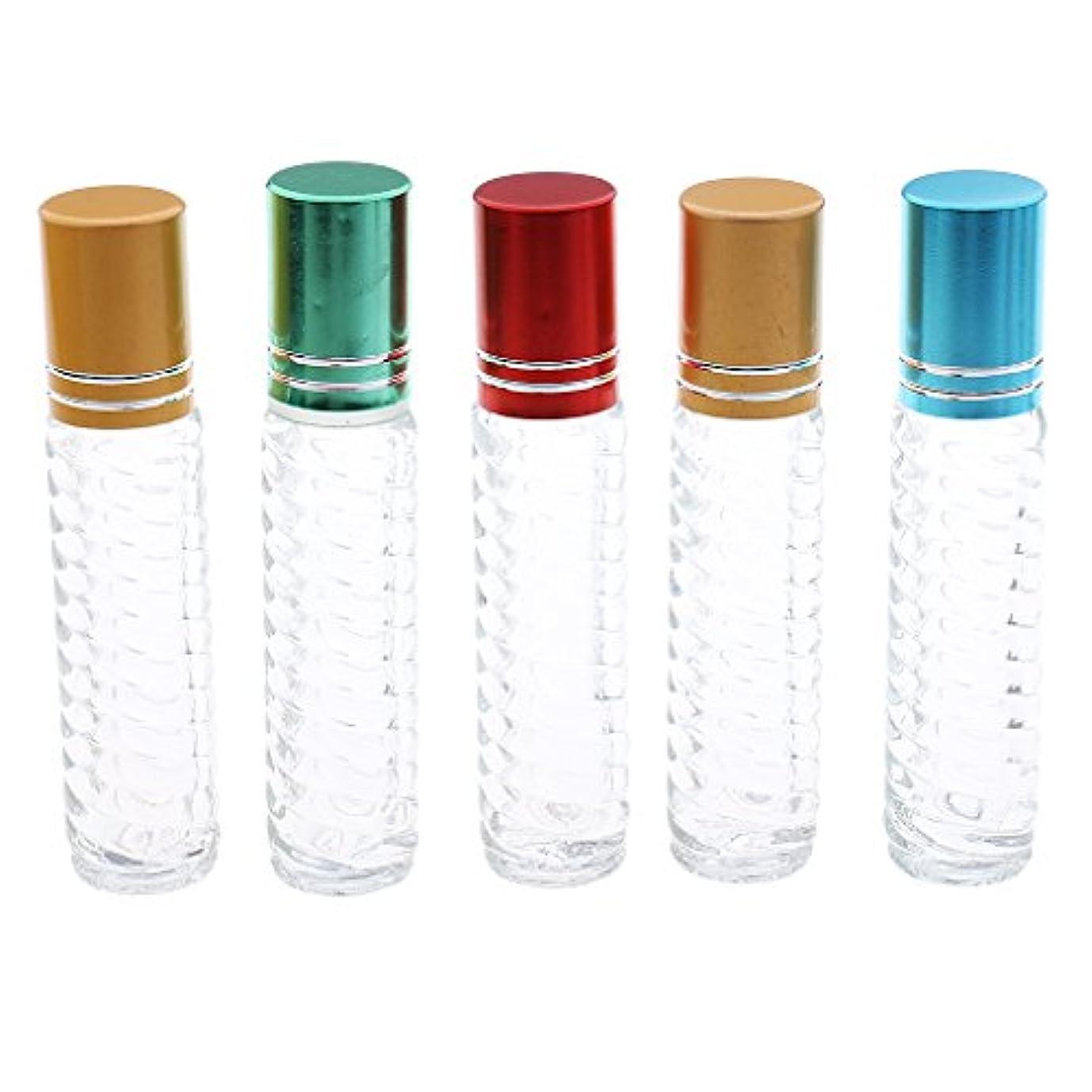 恐れる宿泊施設グラフィックFenteer 5個 詰め替え可能 ガラス ロールオン 香水ボトル 旅行 空 エッセンシャルオイル ボトル 5ml