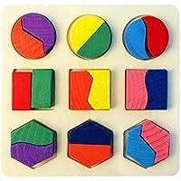 HuaQingPiJu-JP クリエイティブ木製の幼稚園の形のパズルの形と色の認識のおもちゃ