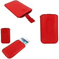 DFV mobile? - Pouch Case Lines Embossing & Belt Loop & Pull Tab Velcro for => SWITEL VICTORY S4700D > Red
