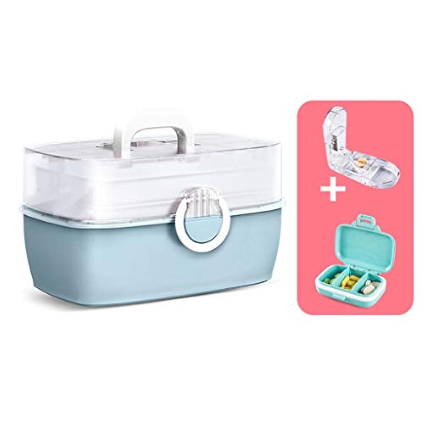 崇拝する思想準備ができて家庭用多層薬箱薬収納ボックスポータブル救急箱キットブルーピンク旅行使用 SYFO (Color : Blue)