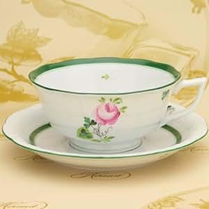 HEREND(ヘレンド) ティーカップ&ソーサー(00734) ヘレンドのウィーンのバラ(VRH) (並行輸入品)