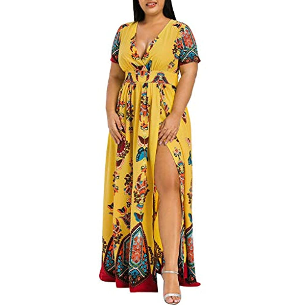 聴覚障害者折る真面目なSakuraBest Women Butterfly Printed V-Neck Short Sleeve High Split Long Dress Plus Size