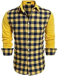 Fly Year-JP メンズクラシックフィットチェック柄コントラストボタンロングスリーブドレスシャツ