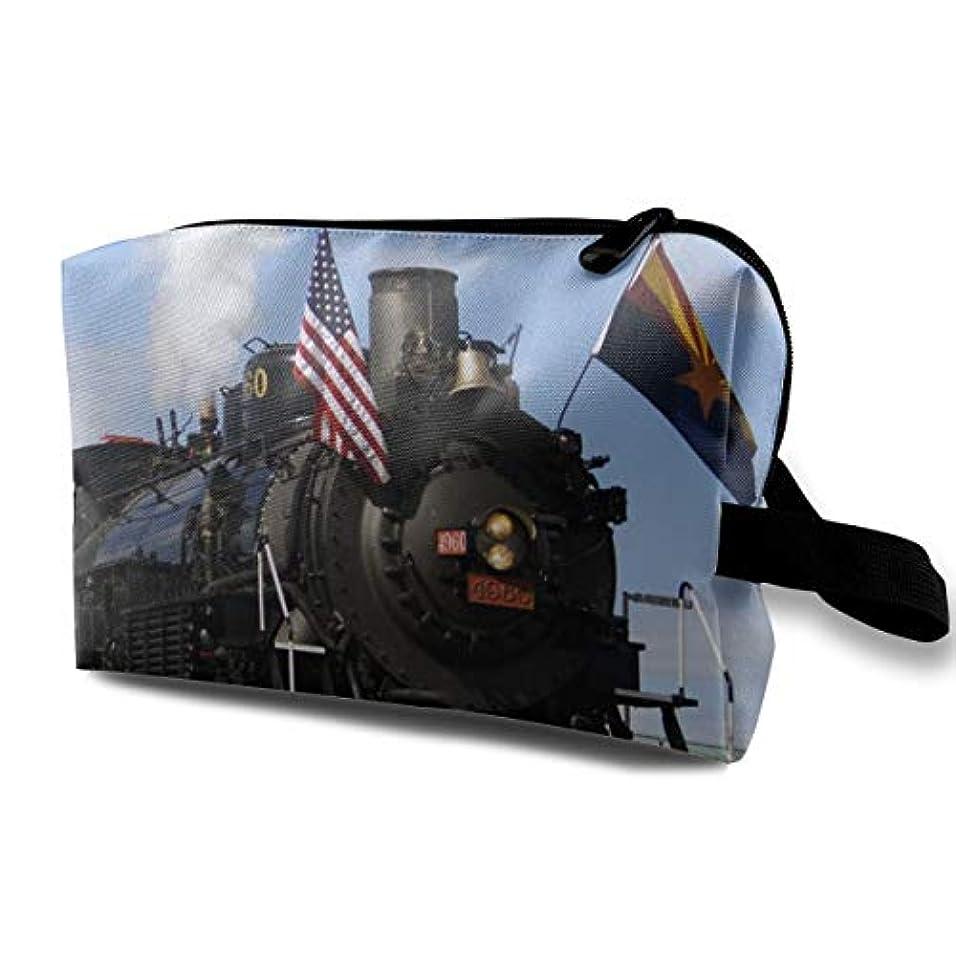 壊れた歯助けになるVehicle Old Steam Train With USA Flag 収納ポーチ 化粧ポーチ 大容量 軽量 耐久性 ハンドル付持ち運び便利。入れ 自宅?出張?旅行?アウトドア撮影などに対応。メンズ レディース トラベルグッズ