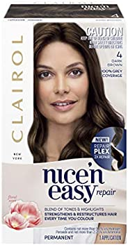 Clairol Nice'n Easy Repair Permanent Hair Colour, 4 Dark Brown, Pack
