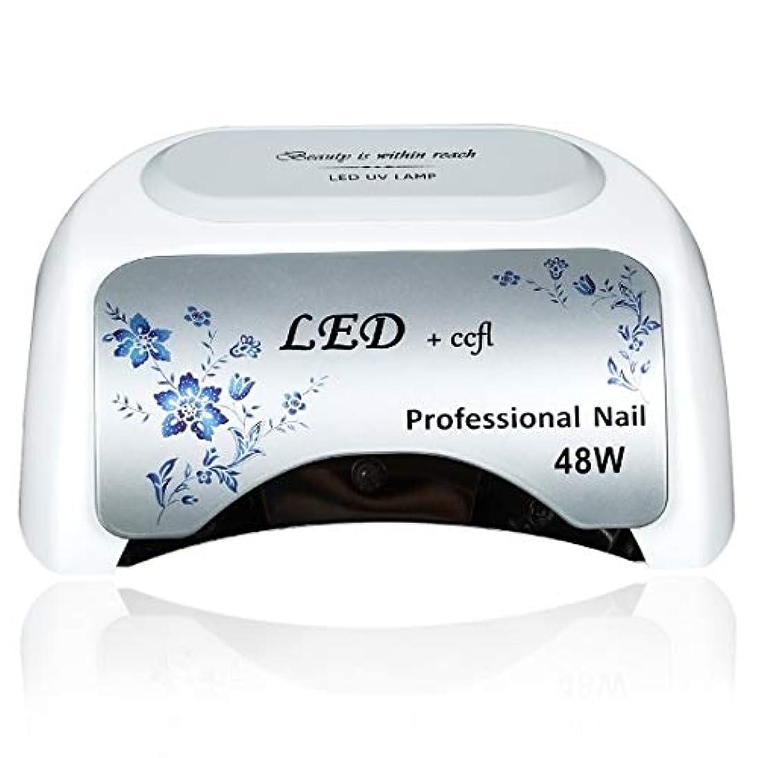 先入観銀自然公園CELINEZL CELINEZL 48W UV + LED自動センサーネイルランプフィンガージェル硬化乾燥機、ディスプレイなし、AC 100-240V(レッド) (色 : 白)