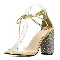 [EStart] レディスシューズ サンダル女性のクリアシングルバンドハイ分厚いヒール剣闘士の靴グリッターハイヒールラインストーンの装飾 ファッション 快適 (Color : 黄, Size : 23 cm)