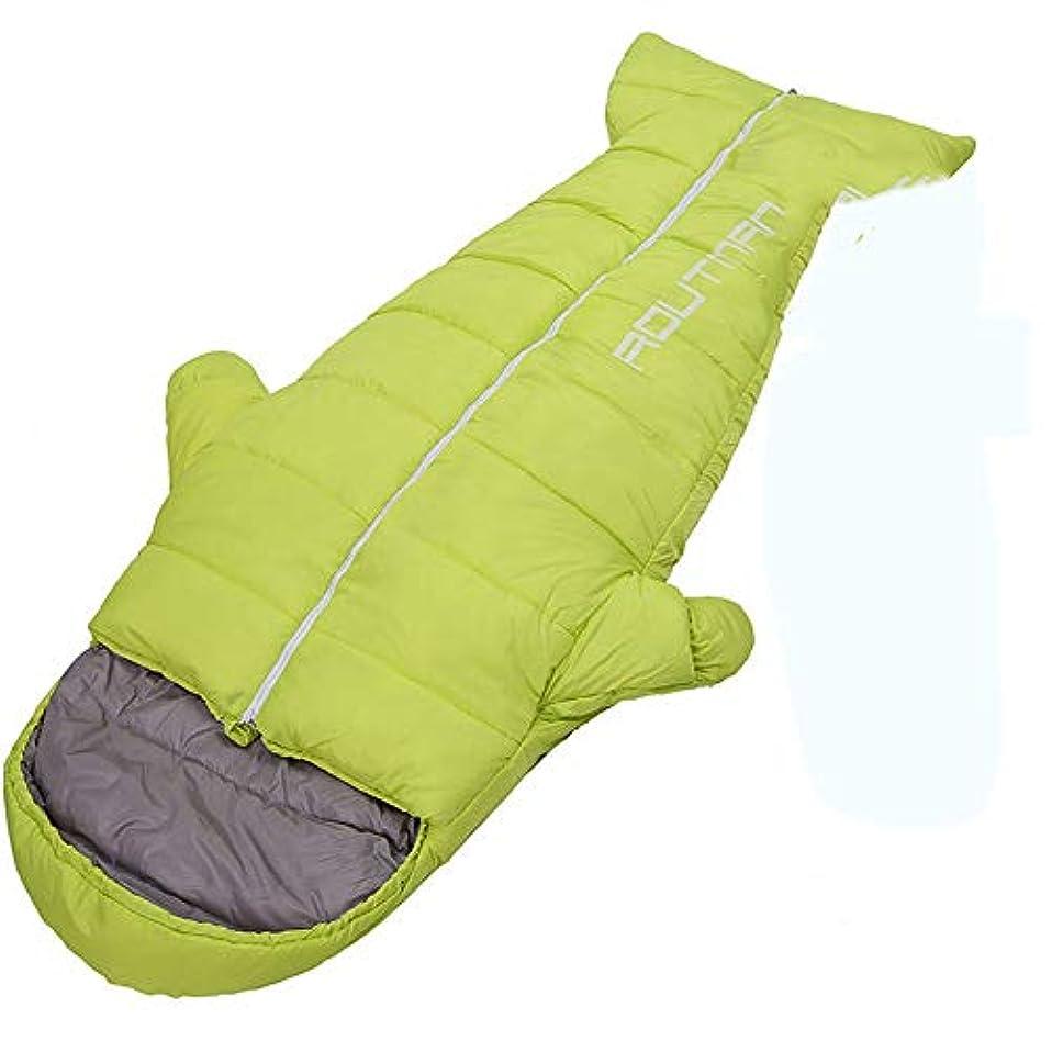 差別的許可ロックZXF 300 tポリエステルタフタ屋外寝袋大人のペンギン肥厚秋と冬の屋内暖かい超軽量ポータブルキャンプ手と足を伸ばすことができます 暖かくて快適です (色 : Green, Size : 1.5KG)