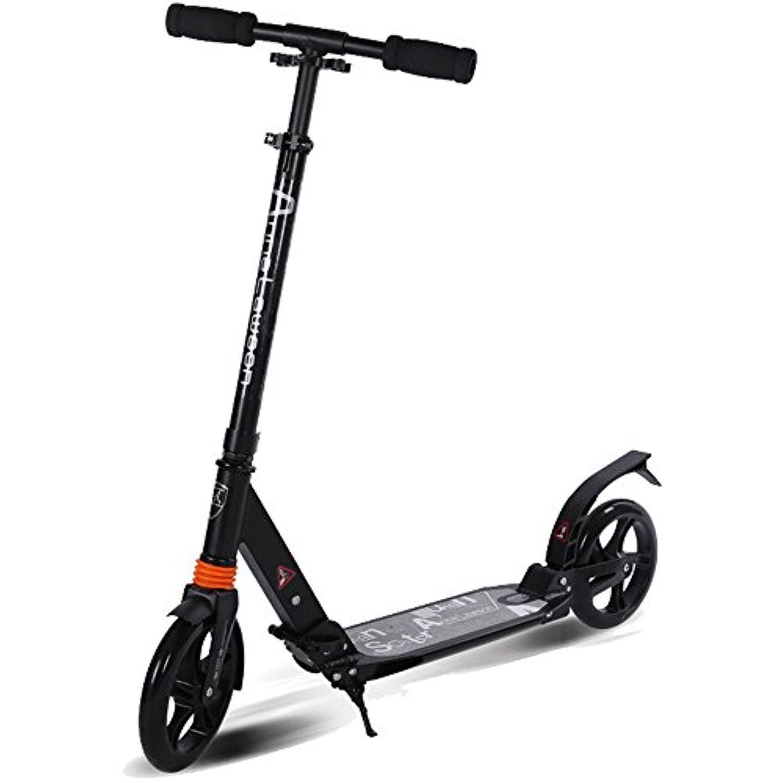 キックスクーター 子供のためのスクーター、大人のスクーターの二輪アルミニウム大きい車輪折りたたみ大人のスクーターの二輪二重衝撃吸収 (色 : ブラック)