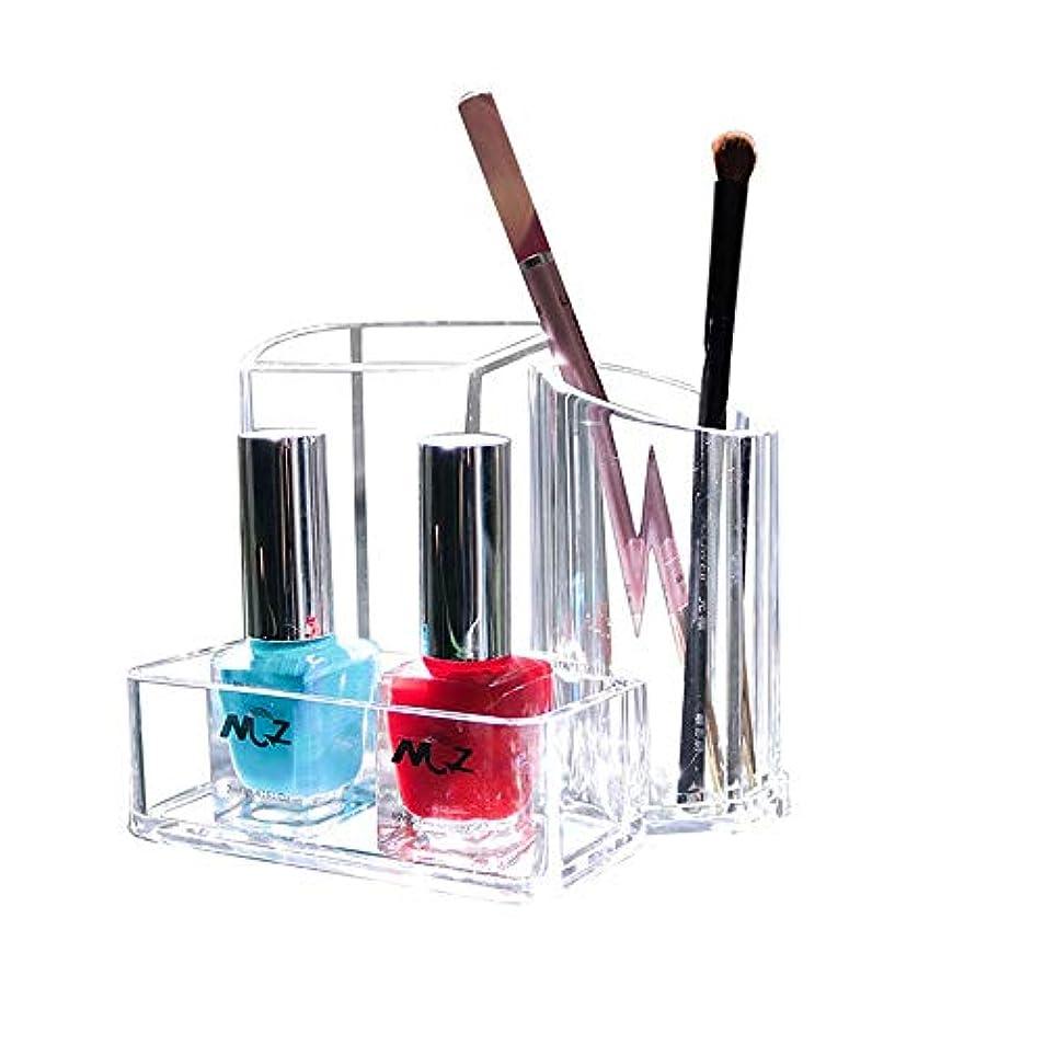 バランス慣性中毒整理簡単 シンプルクリアアクリル口紅&ブラシホルダー収納ディスプレイスタンド化粧スタンドラックホルダーオーガナイザー化粧ケース (Color : Clear, Size : 13.2*9.5*10.8CM)