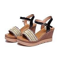 [dobo] ウェッジソール サンダル レディース プラットフォーム 美脚 ハイヒール サンダル 21.0~26.5cm 8cm ヒール 夏 靴 シューズ 履きやすい 疲れない ブラック 40(25.0cm)
