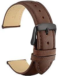 [WOCCI]時計ベルト 19mm替えベルト ヴィンテージ 本革腕時計バンド ブラックバックル(ダークブラウン 同色系ステッチ)