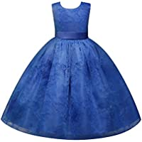 Weixinbuy Girls Mesh Tulle Lace Embroidery Flower Maxi Holiday Party Dresses
