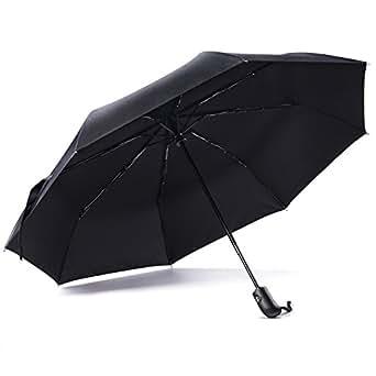 E-PRANCE 自動開閉折り畳み傘 ワンタッチ自動開閉 撥水性 シンプル8本骨 ブラック