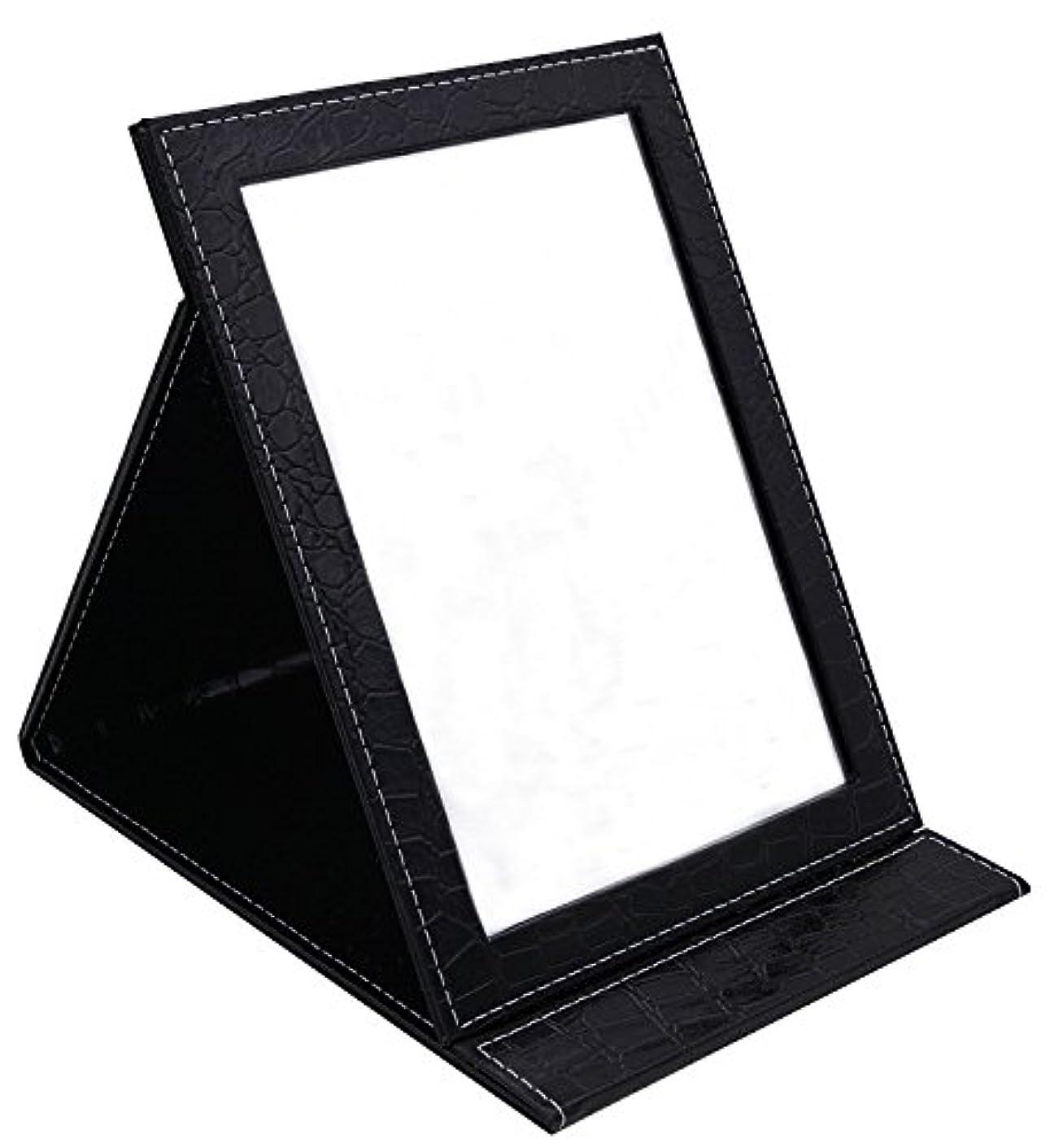 称賛中級過ちHAPPY CY 化粧鏡 折りたたみ式鏡 スタンドミラー 卓上スタンドミラー  携帯 鏡 クロコ柄 プレゼント  上質PUレザー使用