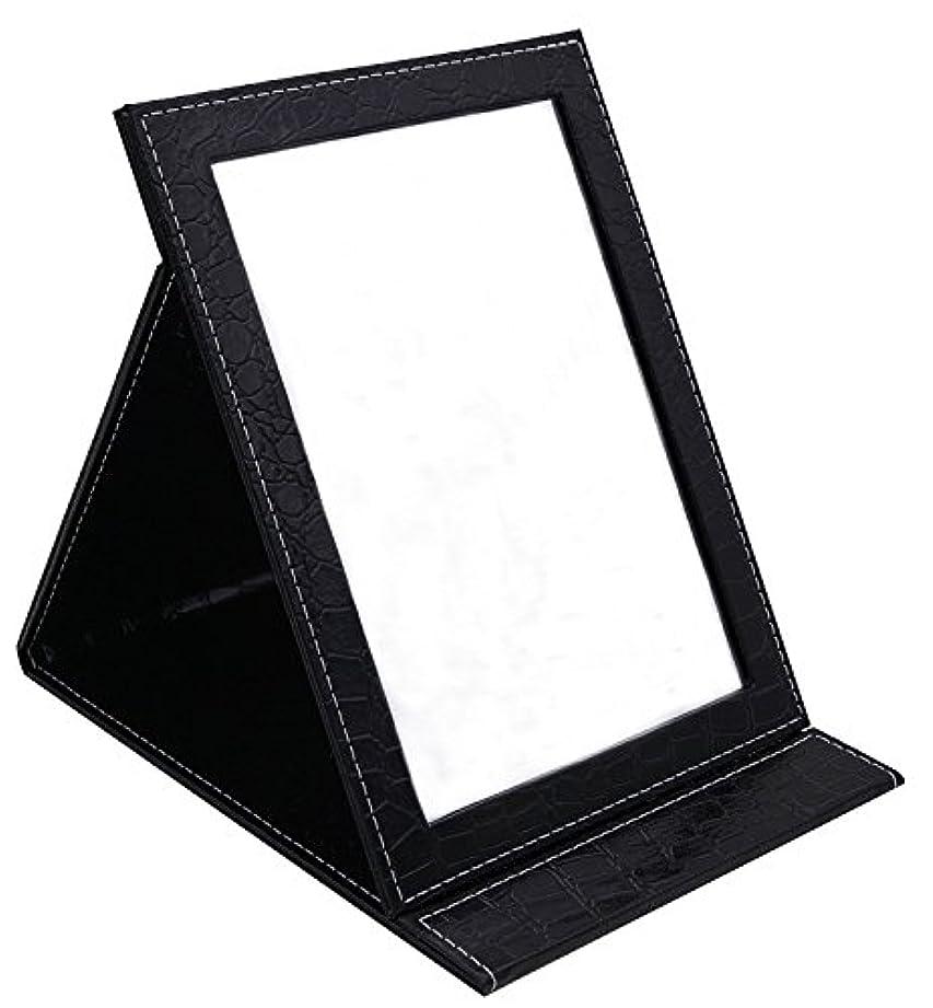 私フラップ研究所HAPPY CY 化粧鏡 折りたたみ式鏡 スタンドミラー 卓上スタンドミラー  携帯 鏡 クロコ柄 プレゼント  上質PUレザー使用