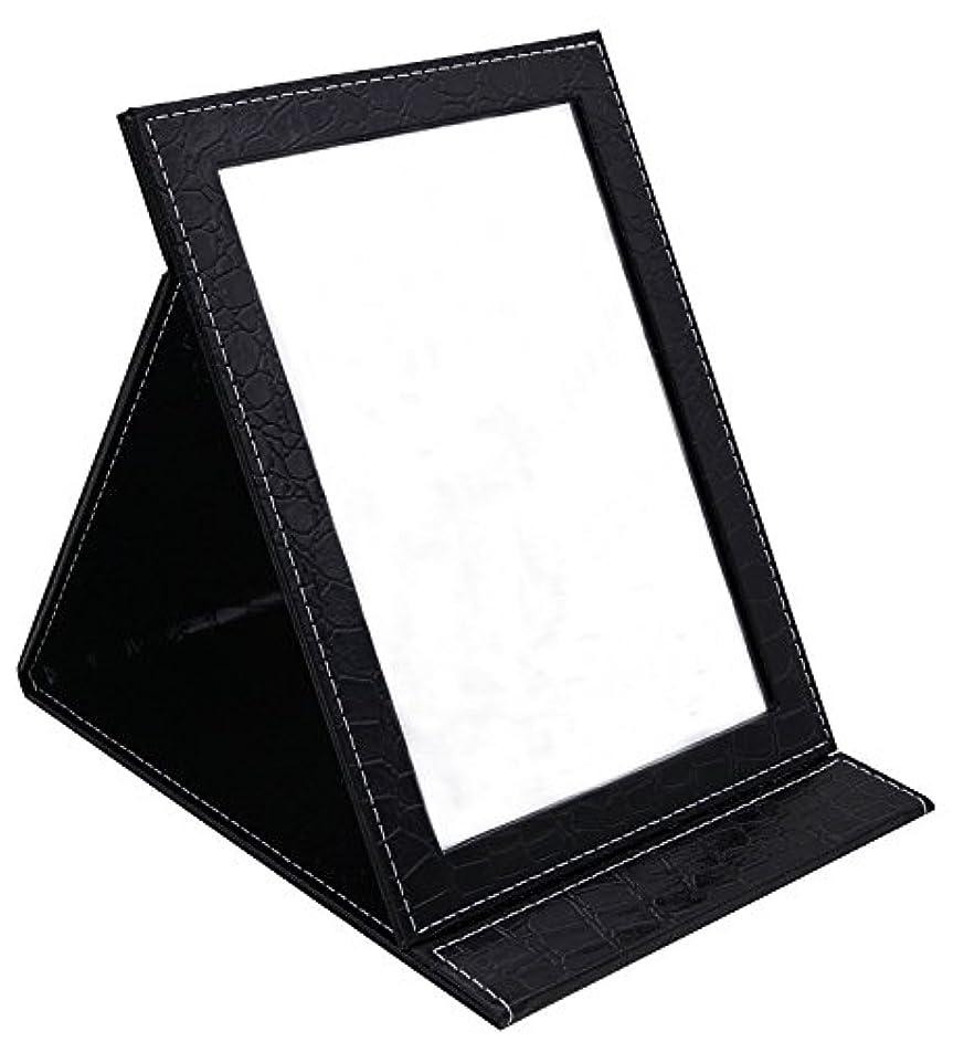 レルム五着実にHAPPY CY 化粧鏡 折りたたみ式鏡 スタンドミラー 卓上スタンドミラー  携帯 鏡 クロコ柄 プレゼント  上質PUレザー使用