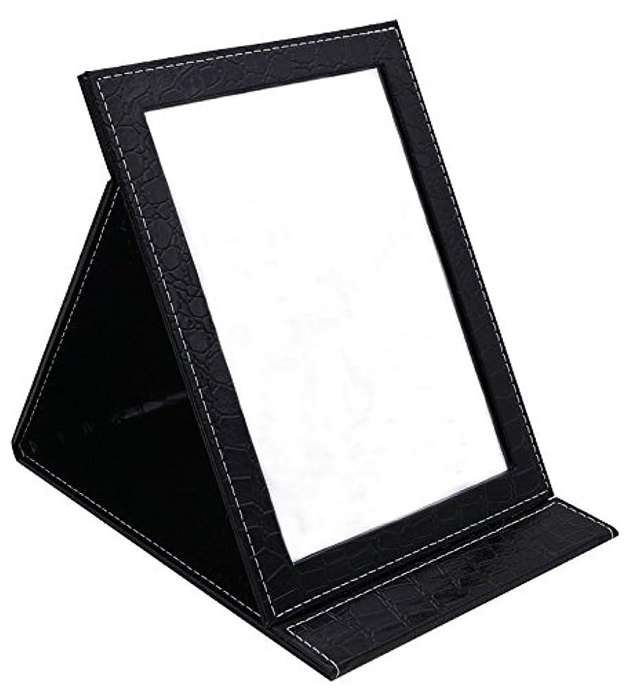 準備したキャンペーン文明化HAPPY CY 化粧鏡 折りたたみ式鏡 スタンドミラー 卓上スタンドミラー  携帯 鏡 クロコ柄 プレゼント  上質PUレザー使用