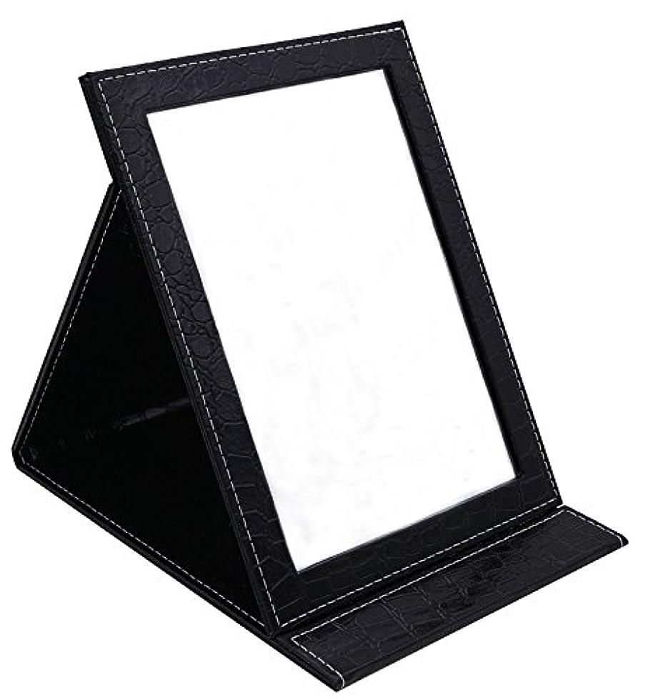 複製する革新バクテリアHAPPY CY 化粧鏡 折りたたみ式鏡 スタンドミラー 卓上スタンドミラー  携帯 鏡 クロコ柄 プレゼント  上質PUレザー使用