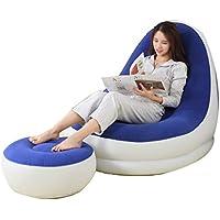 エアベッドラテックスインフレータブルラウンジャーシングルインフレータブルレジャーチェア怠惰なソファ家庭用ランチブレークチェア+フットポンプ (色 : Blue)