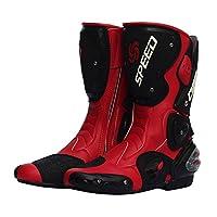 バイク用レーシングブーツ ライダーブーツ バイクウエア  スポーツブーツ バイクブーツ メンズ オートバイ靴 バイク靴 (レッド, 45(27cm))