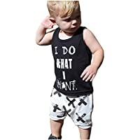 Jane's Mall 2pcs Newborn Toddler Kids Baby Boys Girls Black T-Shirt Tops+White Cross Print Pants Outfits Clothes Set