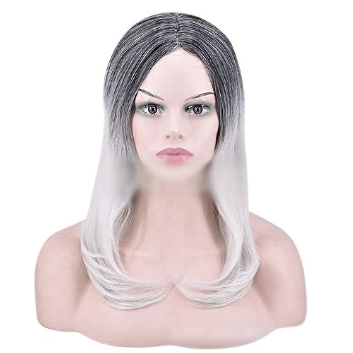 自分マッシュハロウィンYOUQIU 女性のかつらのために自然なダークルーツロングオンブルグレーウィッグストレート髪の合成かつら (色 : グレー)