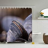 Clams Mussels Shellシャワーカーテン カーテンリング付け 防水防カビ加工 不透明 間仕切り 150*180cm