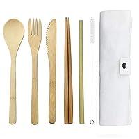 竹製カトラリーフラットウェアセット 竹製トラベル用品、再利用可能なナイフフォークスプーン、箸用ストロー付き (ホワイト)