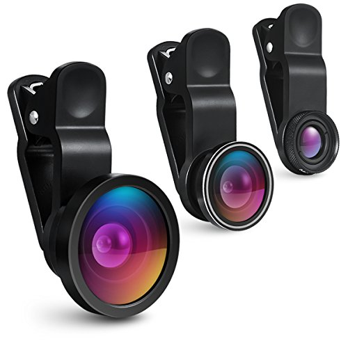 AMIR スマホ用カメラレンズ 広角 マクロ レンズ 魚眼レンズ 3点セット クリップ式レンズ 全機種対応