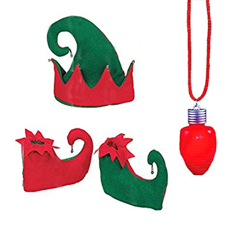 赤と緑Elf帽子、Elf Jingle Bellエルフコスチュームセット、靴、& LED Light Upクリスマス電球ネックレスby neliblu ( 4 Pieceセット)
