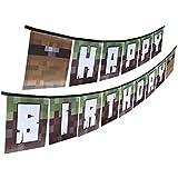 Party Ninja Pixel Mine Crafter Style Happy Birthdayバナー 組み立て済み 楽しいパーティーバナー 屋内または屋外用 再生素材製 誕生日バナー