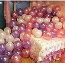 RZ 風船 バルーン 100個 セット 空気入れ付き お姫様カラー ホワイト ピンク パープル ウエディング パーティ 記念日 お祝い