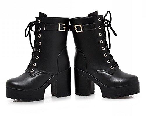 (ケージョイ) K-JOY 美脚 +11cm 厚底 ショート ブーツ(天使の羽セット) レディース ファッション コスプレ 厚底 ブーツ 通販F207-1 (43(26.5cm), ブラック)