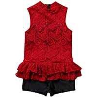 Fashion Girls Swimwear Siamese Girl Red Middle and Small Kid Baby Student Girl Cute Show Performance Swimsuit Novel (Size : XL)