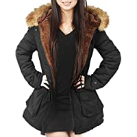4How Womens Hooded Parka Coat Long Winter Jacket Faux Fur Army Green Black