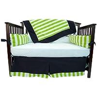 Caught Ya Lookin' Crib Bedding Set Green and White Stripes [並行輸入品]