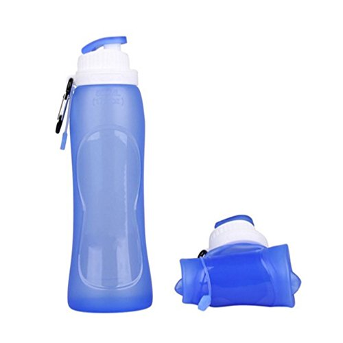 Honel 折りたたみ式ボトル アウトドアボトル 携帯式水筒 スポーツボトル 食品グレード材料 医療用シリコン製 500ml ブルー