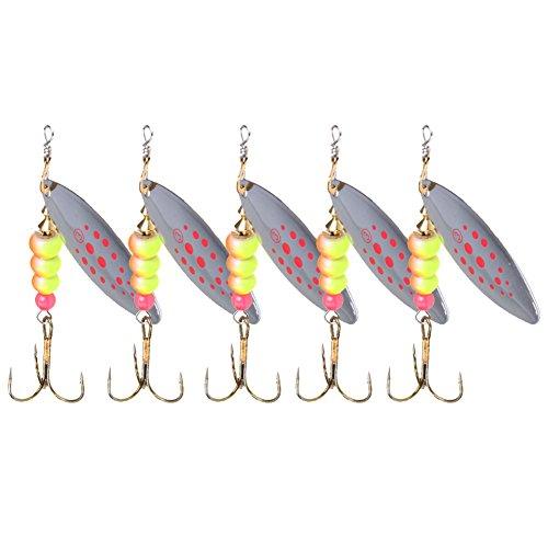 SIKIWIND 餌ルアー 瑠亜エサ 明色 釣り用 メタル餌 5pcsセット 8.5cm 12g フック付き 全4色