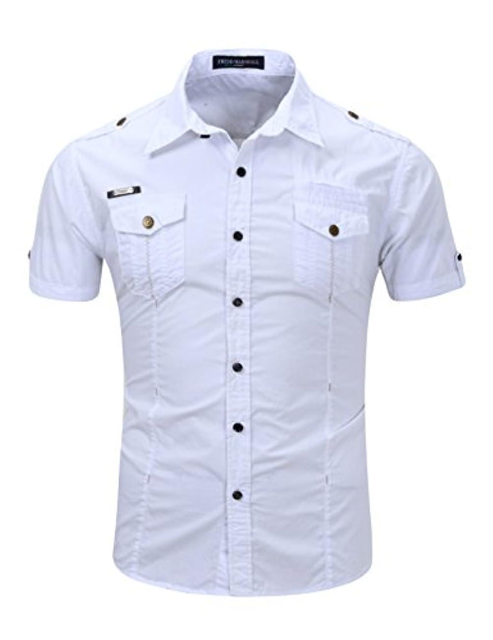 光沢略語に応じてLegou(ラッコウ) メンズ 襟付き アウター ミリタリー 半袖 ボタン シャツ
