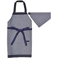 三角巾付き 子ども エプロン身長100-120cmサイズ 【ピンストライプ・インディゴ】 日本製 N1230640