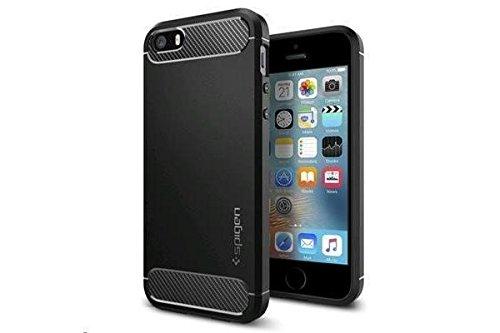 【Spigen】 Apple iPhone SE ケース, TPU ケース 米軍MIL規格取得 アップル アイフォン se / 5s / 5 用 携帯カバー ラギッド・アーマー 041CS20167 (ブラック)