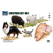 リッチモデル 1/35 家畜セットNo.1・羊・豚・犬・猫 プラモデル